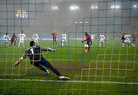 Goalkeeper Samir Handanovic (l, SLO) looks to Jozy Altidore (m, USA) during the Penalty Shot to 3:1, during the friendly match Slovenia against USA at the Stozice Stadium in Ljubljana, Slovenia on November 15th, 2011.