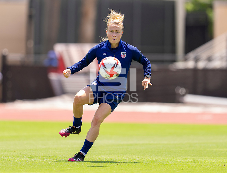 HOUSTON, TX - JUNE 8: Emily Sonnett #14 of the USWNT controls the ball during a training session at the University of Houston on June 8, 2021 in Houston, Texas.