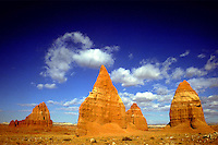 Temples of the Sun and Moon in the Capitol Reef National Park backcountry. Utah, Capitol Reef National Park Backcountry.