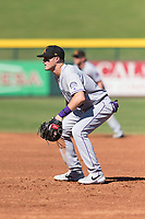 Salt River Rafters first baseman Tyler Nevin (2), of the Colorado Rockies organization, during an Arizona Fall League game against the Mesa Solar Sox at Sloan Park on October 30, 2018 in Mesa, Arizona. Salt River defeated Mesa 14-4 . (Zachary Lucy/Four Seam Images)
