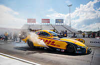 Aug 9, 2020; Clermont, Indiana, USA; NHRA funny car driver J.R. Todd during the Indy Nationals at Lucas Oil Raceway. Mandatory Credit: Mark J. Rebilas-USA TODAY Sports