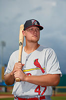 Palm Beach Cardinals Luken Baker (47) poses for a photo before a Florida State League game against the Bradenton Marauders on May 10, 2019 at LECOM Park in Bradenton, Florida.  Bradenton defeated Palm Beach 5-1.  (Mike Janes/Four Seam Images)
