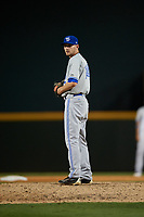 Dunedin Blue Jays relief pitcher Nick Hartman (14) gets ready to deliver a pitch during a game against the Bradenton Marauders on May 2, 2018 at LECOM Park in Bradenton, Florida.  Bradenton defeated Dunedin 6-3.  (Mike Janes/Four Seam Images)
