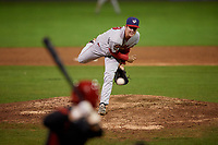 Auburn Doubledays relief pitcher Daniel Butler (19) delivers a pitch during a game against the Batavia Muckdogs on September 6, 2017 at Dwyer Stadium in Batavia, New York.  Auburn defeated Batavia 6-3.  (Mike Janes/Four Seam Images)