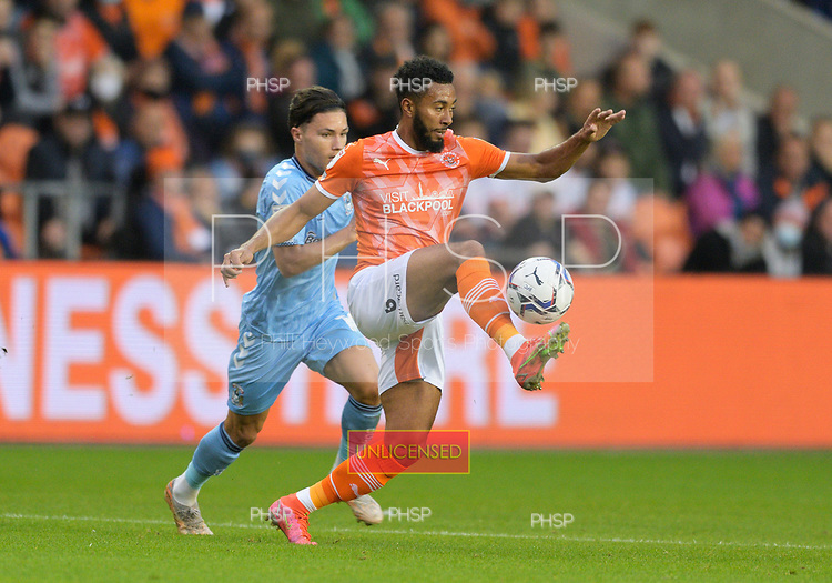 17/08/2021 Sky Bet Championship Blackpool v Coventry  <br /> <br /> Grant Ward in action for Blackpool