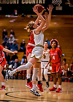 19 February 2020: University of Vermont Catamount Forward Hanna Crymble, a Senior from Champlin, MN, goes for a layup in first-half action against the Stony Brook Seawolves at Patrick Gymnasium in Burlington, Vermont. The Lady Seawolves edged out the Lady Catamounts 72-68 in America East Women's Basketball. Mandatory Credit: Ed Wolfstein Photo *** RAW (NEF) Image File Available ***