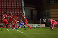 Ben Wilson of Brighton & Hove Albion (U23s) shoots and scores during the EFL Trophy behind closed doors match between Leyton Orient and Brighton & Hove Albion Under 21s at the Matchroom Stadium, London, England played without supporters able to attend due to ongoing covid-19 government guidelines on 8 September 2020. Photo by Vince  Mignott.