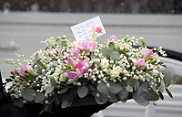 """COPY BY TOM BEDFORD<br />Pictured: A floral tribute at the Jerusalem Baptist Chapel, Merthyr Tydfil, Wales, UK. Friday 18 August 2017<br />Re: The funeral of a toddler who died after a parked Range Rover's brakes failed and it hit a garden wall which fell on top of her will be held today at Jerusalem Baptist Chapel in Merthyr Tydfil.<br />One year old Pearl Melody Black and her eight-month-old brother were taken to hospital after the incident in south Wales.<br />Pearl's family, father Paul who is The Voice contestant and mum Gemma have said she was """"as bright as the stars""""."""
