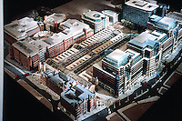 London: Liverpool & Broad St. Stations--Broadgate Development--Model. SOM & ARUP Assoc. 1988? Liverpool St., lower left; Bishopsgate, right.