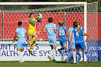 Goalkeeper Jenni Branam (23) of Sky Blue FC makes a save. Sky Blue FC defeated the Boston Breakers 2-1 during a Women's Professional Soccer match at Yurcak Field in Piscataway, NJ, on May 31, 2009.