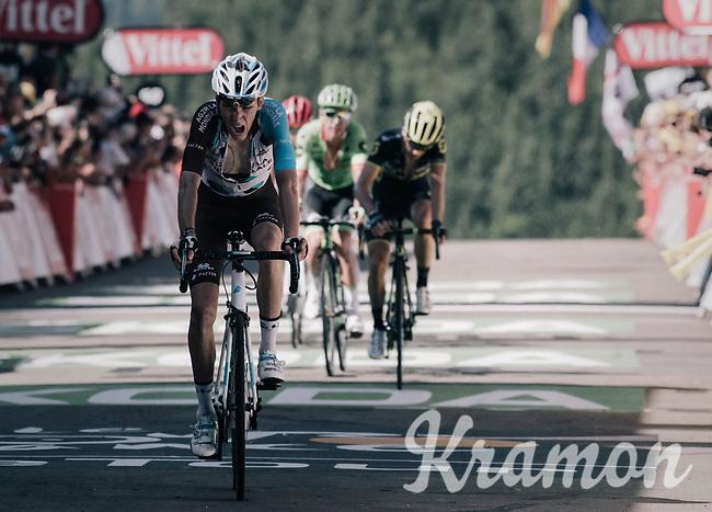 Romain Bardet (FRA/AG2R-La Mondiale) finishing after the very steep  finale up La Planche des Belles Filles<br /> <br /> 104th Tour de France 2017<br /> Stage 5 - Vittel › La Planche des Belles Filles (160km)