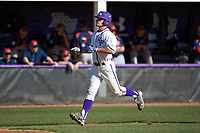 Jordan Sergent (9) of the High Point Panthers jogs towards home plate after hitting a two-run home run against the NJIT Highlanders at Williard Stadium on February 19, 2017 in High Point, North Carolina. The Panthers defeated the Highlanders 6-5. (Brian Westerholt/Four Seam Images)