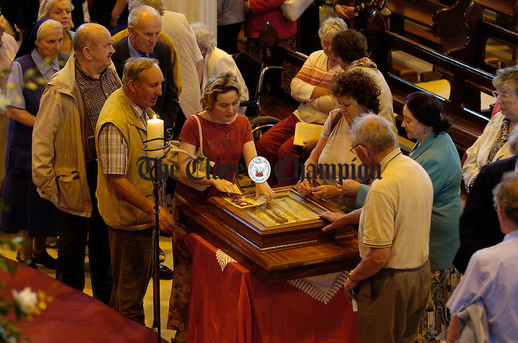 The Relics of St Claude de La Colombiere are venerated following their arrival to Ennis Cathedral. Photograph by John Kelly.