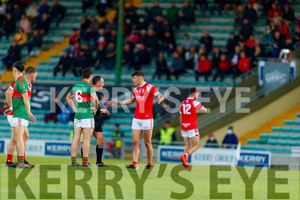David Clifford, East Kerry receives a yellow card from Referee Paul Hayes (Kerins O'Rahillys) during the Kerry County Senior Football Championship Final match between East Kerry and Mid Kerry at Austin Stack Park in Tralee on Saturday night.