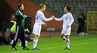 Jose Torres (r) and Jeff Larentowicz - substitution of team USA during the friendly match Belgium against USA at King Baudoin stadium in Brussel, Belgium on September 06th, 2011.