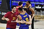 EUROLEAGUE 2020-2021. Playoffs.Game 2.<br /> FC Barcelona vs Zenit St. Petersburg: 81-78.<br /> Alex Abrines, Adam Hanga & Kyle Kuric.