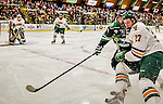 24 October 2015: University of Vermont Catamount Defenseman Ori Abramson, a Sophomore from Toronto, Ontario, in first period action against the University of North Dakota at Gutterson Fieldhouse in Burlington, Vermont. North Dakota defeated the Catamounts 5-2 in the second game of their weekend series. Mandatory Credit: Ed Wolfstein Photo *** RAW (NEF) Image File Available ***