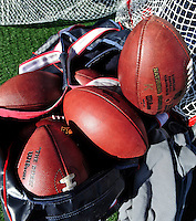 1 November 2009: A bag of NFL footballs lie on the sidelines during a game between the Buffalo Bills and the Houston Texans at Ralph Wilson Stadium in Orchard Park, New York, USA. The Texans defeated the Bills 31-10. Mandatory Credit: Ed Wolfstein Photo