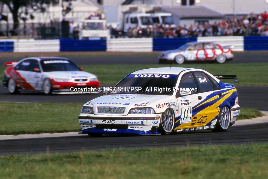 Silverstone round of the 1997 British Touring Car Championship. #11 Kelvin Burt (GBR). Volvo S40 Racing. Volvo S40.