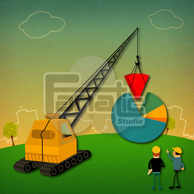 Pie chart being built with crane