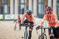 Lucinda Brand (NED/Baloise-Trek Lions) catching (and overtaking) Denise Betsema (NED/Pauwels Sauzen-Bingoal)<br /> <br /> UCI 2021 Cyclocross World Championships - Ostend, Belgium<br /> <br /> Women's Race<br /> <br /> ©kramon