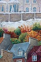 Amérique/Amérique du Nord/Canada/Québec/ Québec: La Fresque des Québécois est un trompe-l'œil  de 420 mètres carrés de superficie au coin de la rue Notre-Dame dans le Quartier Petit Champlain du Vieux-Québec. On retrouve plusieurs personnages historiques