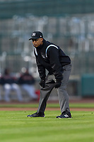 Umpire Thomas Burrell during a Midwest League game between the Kane County Cougars and Fort Wayne TinCaps at Parkview Field on April 30, 2019 in Fort Wayne, Indiana. Kane County defeated Fort Wayne 7-4. (Zachary Lucy/Four Seam Images)