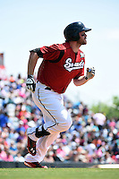 Nashville Sounds first baseman Hunter Morris (25) during a game against the Omaha Storm Chasers on May 20, 2014 at Herschel Greer Stadium in Nashville, Tennessee.  Omaha defeated Nashville 4-1.  (Mike Janes/Four Seam Images)