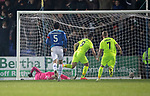 St Johnstone v Hibernian…27.02.19…  McDiarmid Park    SPFL<br />Marc McNulty puts the penalty kick past Cammy Bell<br />Picture by Graeme Hart. <br />Copyright Perthshire Picture Agency<br />Tel: 01738 623350  Mobile: 07990 594431