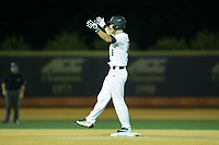 Jonathan Pryor (11) of the Wake Forest Demon Deacons celebrates after hitting a double against the West Virginia Mountaineers in Game Four of the Winston-Salem Regional in the 2017 College World Series at David F. Couch Ballpark on June 3, 2017 in Winston-Salem, North Carolina.  The Demon Deacons walked-off the Mountaineers 4-3.  (Brian Westerholt/Four Seam Images)