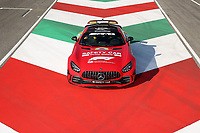 10th September 2020; Mugello race track, Scarperia e San Piero, Tuscany, Italy ; Formula 1 Grand Prix of Tuscany, arrival day; In respect for the great Ferrari anniversary, Mercedes painted Bernd Maylanders Mercedes AMG GT R safety car Ferrari red