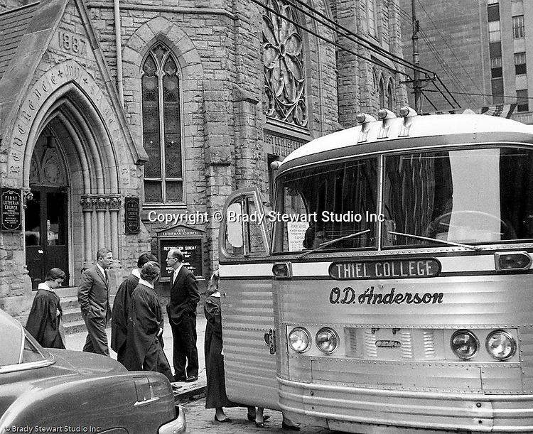 Pittsburgh PA:  Members of the First Lutheran Church of Pittsburgh on a field trip to Thiel College in Greenville PA.  Thiel College was established by a Lutheran Pastor, William Passavant in 1866.