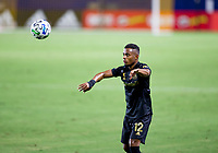 CARSON, CA - SEPTEMBER 06: Diego Palacios #12 of LAFC with a throw in during a game between Los Angeles FC and Los Angeles Galaxy at Dignity Health Sports Park on September 06, 2020 in Carson, California.