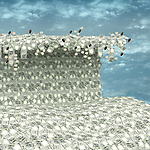 Conceptual shot of high-rise tidal wave in ocean of Indian currency