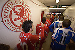 Julio Arca gives the thumbs up to former teammate Lee Cattermole in the tunnel before the game. Middlesbrough 0 Wigan Athletic 0, 21/02/2009. The Riverside Stadium, Middlesbrough. Premier League. Photo by Paul Thompson.