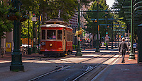Urban Street of Memphis Tennessee, Street Photograph of the trolley lines in downtown Memphis.<br />