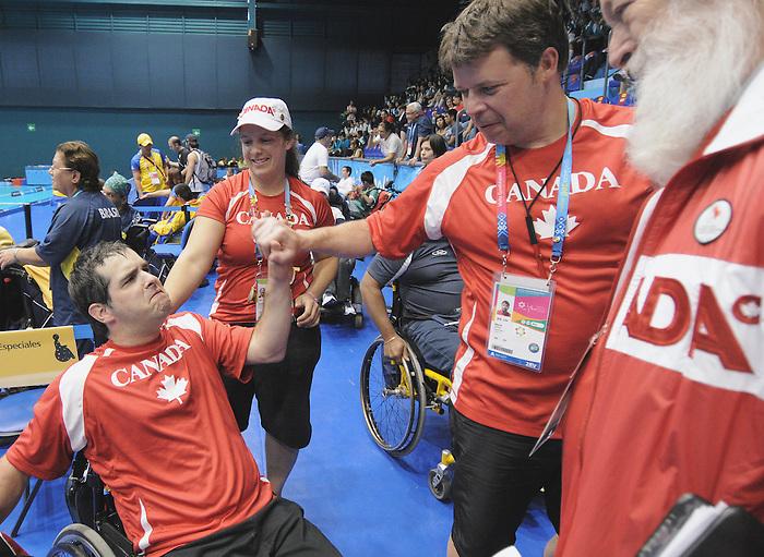 Dave Richer, Guadalajara 2011 - Boccia.<br /> Dave Richer is congratulated on his Bronze Medal performance // Dave Richer est félicité pour sa médaille de bronze. 11/16/2011.