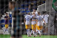 LAKE BUENA VISTA, FL - JULY 27: San Jose Earthquakes celebrates a goal during a game between San Jose Earthquakes and Real Salt Lake at ESPN Wide World of Sports on July 27, 2020 in Lake Buena Vista, Florida.