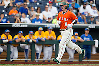 Miami Hurricanes catcher Zack Collins (0) trots home after hitting a first inning home run against the UC Santa Barbara Gauchos in Game 5 of the NCAA College World Series on June 20, 2016 at TD Ameritrade Park in Omaha, Nebraska. UC Santa Barbara defeated Miami  5-3. (Andrew Woolley/Four Seam Images)