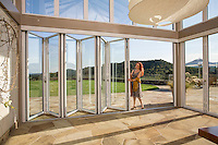 Conference, tasting room with glass doors, Shafer Vineyard, Napa, California