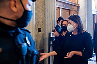 United States Vice President Kamala Harris arrives at the Senate chamber for a vote at the U.S. Capitol in Washington, DC, Thursday, March 4, 2021. Credit: Rod Lamkey / CNP/AdMedia