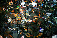 Footwear abandoned by those injured at Chhatrapati Shivaji Terminus after multiple terrorist attacks were launched in Mumbai on 26/11/2008. The train station, formerly Victoria Terminus and better known as CST or Bombay VT, was one of the targets.