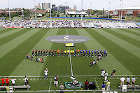 Teams line up for playing of national anthmns..Kansas City Wizards and Atlas (Mexico) played to a 0-0 tie at Robert R Hermann Stadium, on the campus of Saint Louis University, St Louis , Missouri.