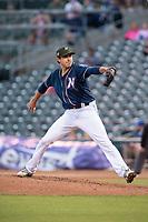 Northwest Arkansas Naturals pitcher Conner Greene (21) delivers a pitch on May 18, 2019, at Arvest Ballpark in Springdale, Arkansas. (Jason Ivester/Four Seam Images)