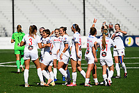MONTCLAIR, NJ - OCTOBER 03: The Washington Spirit celebrate the goal by Kumi Yokoyama #17 of the Washington Spirit during a game between Washington Spirit and Sky Blue FC at MSU Soccer Park at Pittser Field on October 03, 2020 in Montclair, New Jersey.