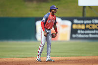 Hagerstown Suns shortstop Yasel Antuna (5) on defense against the Kannapolis Intimidators at Kannapolis Intimidators Stadium on May 6, 2018 in Kannapolis, North Carolina. The Intimidators defeated the Suns 4-3. (Brian Westerholt/Four Seam Images)