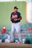 Peoria Chiefs pitcher Kender Villegas (40) gets ready to deliver a pitch during a game against the Lansing Lugnuts on June 6, 2015 at Cooley Law School Stadium in Lansing, Michigan.  Lansing defeated Peoria 6-2.  (Mike Janes/Four Seam Images)