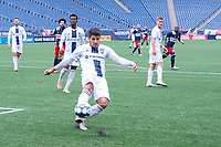 FOXBOROUGH, MA - JULY 4: Cesar Murillo #4 of Greenville Triumph SC attempts to clear the ball to avoid a corner during a game between Greenville Triumph SC and New England Revolution II at Gillette Stadium on July 4, 2021 in Foxborough, Massachusetts.