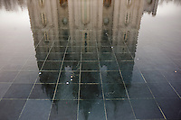 LDS Temple reflected in a small fountain, Salt Lake City, Utah.