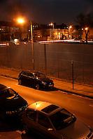 Residential street at night, Abbeywood, London, UK